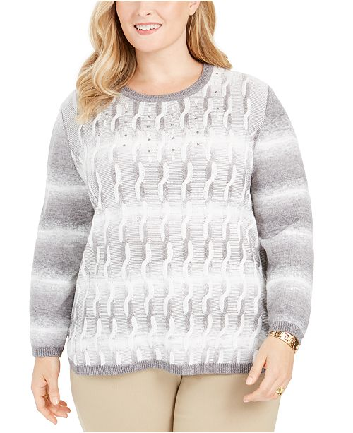 Alfred Dunner Plus Size Well Red Ombré Cable-Knit Sweater