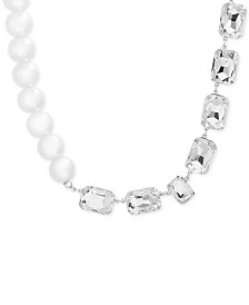 Steve Madden Baguette Rhinestone and Pearl Necklace