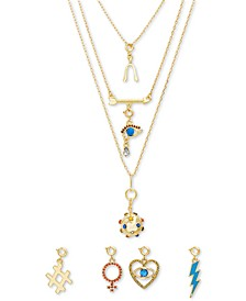 "Gold-Tone 8-Pc. Gift Set Crystal & Stone Interchangeable Charm Layered Pendant Necklace, 14"" + 1"" extender"