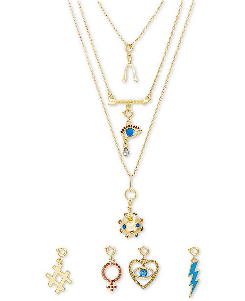 """Steve Madden Gold-Tone 8-Pc. Gift Set Crystal & Stone Interchangeable Charm Layered Pendant Necklace, 14"""" + 1"""" extender"""