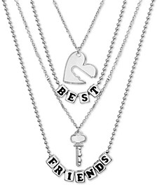 "Silver-Tone Best Friends Heart & Key Double-Row Pendant Necklaces Gift Set, 14/15"" + 2"" extender"
