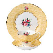 Royal Albert 100 Years 1990 3-Piece Set, Teacup Saucer & Plate -Bouquet