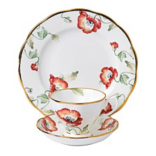 100 Years 1970 3-Piece Set, Teacup Saucer & Plate-Poppy
