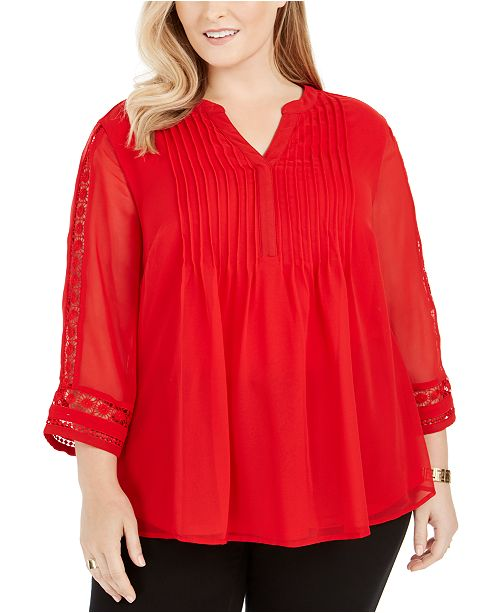 Charter Club Plus Size Pintuck-Front Lace-Sleeve Top, Created For Macy's