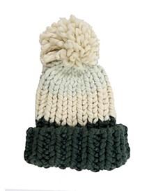 Colorblock Chunky Knit Beanie With Pom
