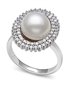 Cultured Freshwater Pearl (9-10 mm) and Cubic Zirconia Encrusted Ring in Sterling Silver