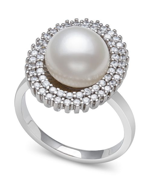 Macy's Cultured Freshwater Pearl (9-10 mm) and Cubic Zirconia Encrusted Ring in Sterling Silver