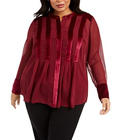 Plus Size Velvet-Trim Blouse, Created For Macy's