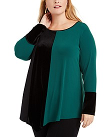 Plus Size Colorblocked Asymmetrical Tunic, Created For Macy's