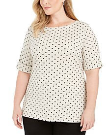 Plus Size Dot-Print Elbow-Sleeve Top, Created for Macy's