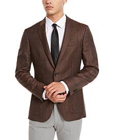 HUGO Hugo Boss Men's Slim-Fit Burgundy Check Sport Coat