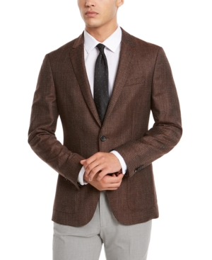Hugo Boss Hugo  Men's Slim-Fit Burgundy Check Sport Coat In Rust