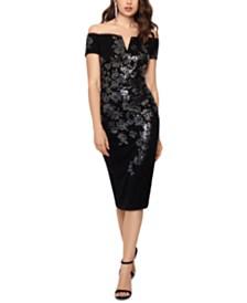 XSCAPE Petite Lace Sequin Sheath Dress