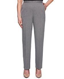 Boardroom Textured Straight-Leg Pull-On Pants