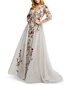 Embellished-Floral Gown