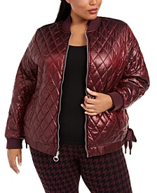 Plus Size Water-Repellent Reversible Lace-Up Sides Bomber Jacket