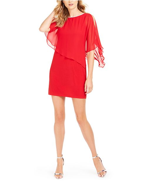 MSK Rhinestone-Trim Chiffon Popover Dress