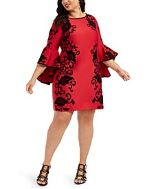 Plus Size Flocked Floral-Print Bell-Sleeve Sheath Dress