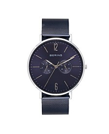 Men's Multi-Function Blue Stainless Steel Mesh Bracelet Watch 40mm