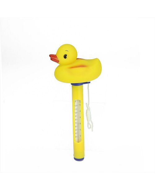 """Northlight 9.5"""" Duck Floating Swimming Pool Thermometer with Cord"""