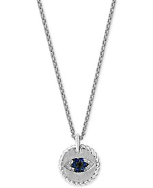 "EFFY® Sapphire (1/10 ct. t.w.) & Diamond (1/20 ct. t.w.) Evil Eye 18"" Pendant Necklace in Sterling Silver"