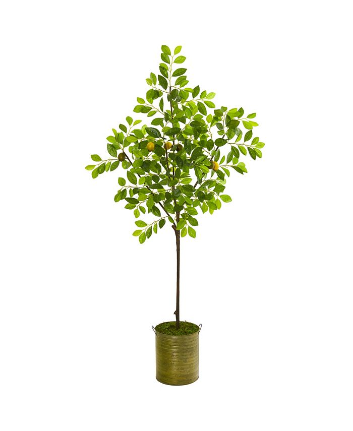 """Nearly Natural - 67"""" Lemon Artificial Tree in Green Planter"""