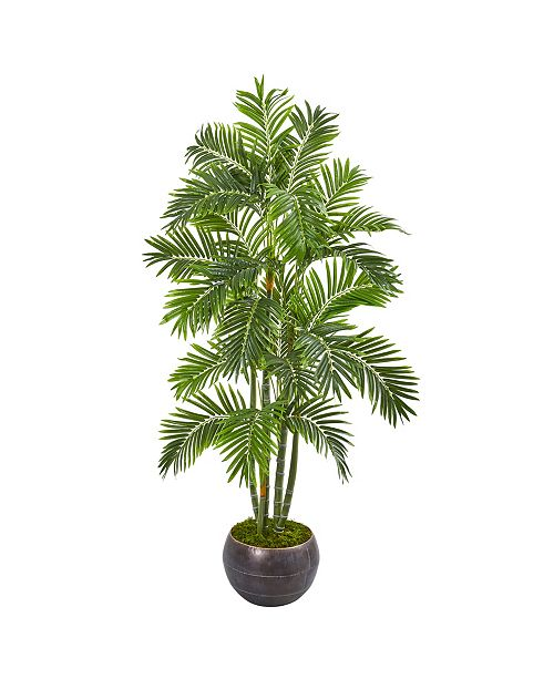 "Nearly Natural 68"" Areca Palm Artificial Tree in Metal Bowl"