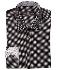 Men's Diamond-Print Performance Slim-Fit Dress Shirt