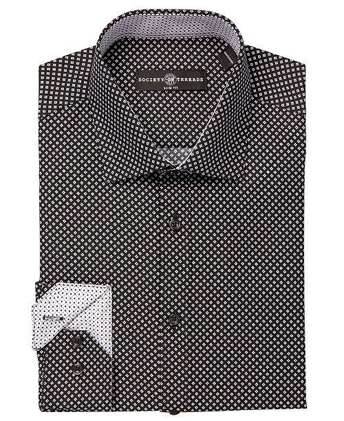Society of Threads Men's Diamond-Print Performance Slim-Fit Dress Shirt