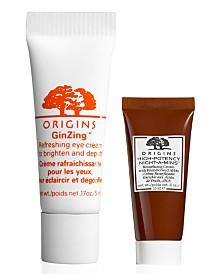 Get a Free High Potency Night-a-Mins Resurfacing Cream & Ginzing Eye Cream with any $65 Origins purchase