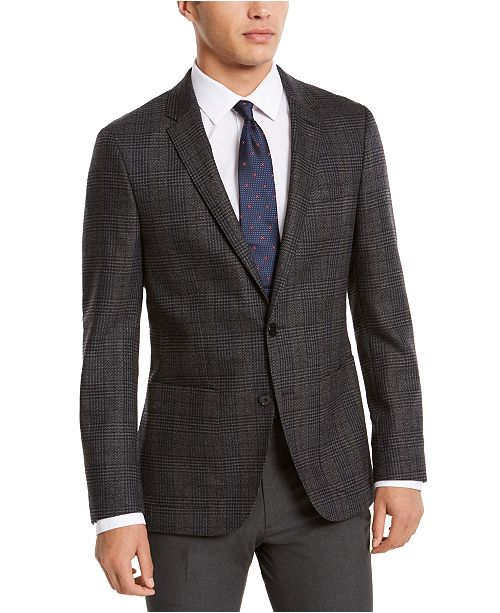 HUGO HUGO Hugo Boss Men's Classic-Fit Gray Plaid Sport Coat