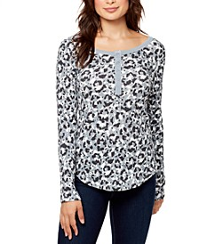 Henley Snap-Front Textured Top