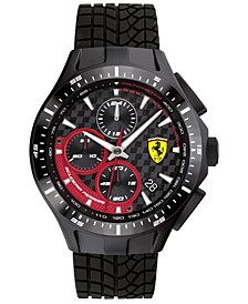 Men's Chronograph Race Day Black Silicone Strap Watch 44mm