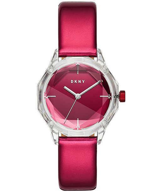 DKNY Women's Cityspire Red Patent Leather Strap Watch 34mm