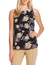 Enchanted Floral-Print Pleated-Neck Top