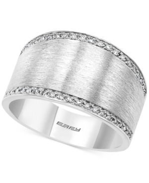 Effy Diamond Satin Finish Statement Ring (1/8 ct. t.w.) in Sterling Silver
