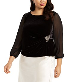 Plus Size Velvet Embellished Top