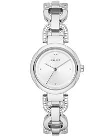 DKNY Women's Eastside Stainless Steel Pavé Chain Bracelet Watch 30mm
