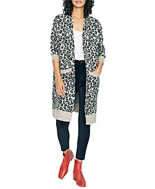 Cats Meow Printed Open-Front Cardigan