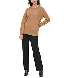 Drop-Shoulder Whipstitched Sweater