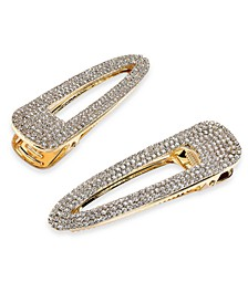 INC 2-Pc. Gold-Tone Pavé Open Triangle Hair Barrette Set, Created For Macy's