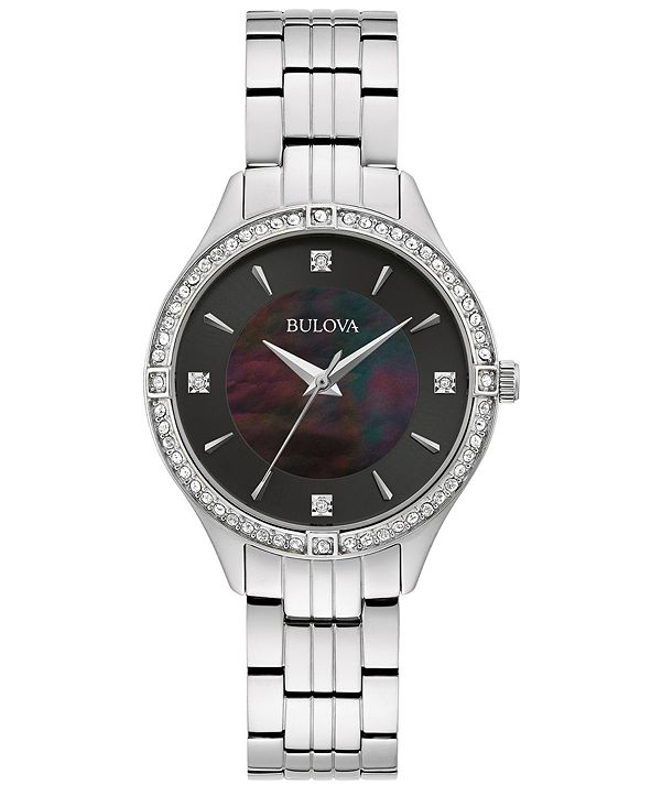 Bulova Women's Crystal Stainless Steel Bracelet Watch 32mm, Created for Macy's