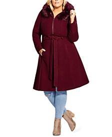 Trendy Plus Size Miss Mysterious Faux-Fur-Trim Coat