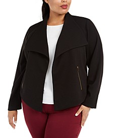 Plus Size Ribbed-Knit Open-Front Jacket