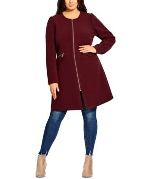 City Chic Coats TRENDY PLUS SIZE SIMPLE ELEGANCE COLLARLESS COAT