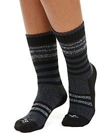 Women's 2-Pk. Moisture-Control Striped Crew Socks