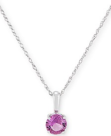 "Lab Created Pink Sapphire 18"" Pendant Necklace (5/8 ct. t.w.) in 14k White Gold"