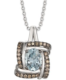 "Sea Blue Aquamarine (7/8 ct. t.w.) & Chocolate Diamond (1/5 ct. t.w.) 20"" Pendant Necklace in 14k White Gold"