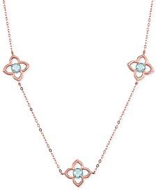 "Blue Topaz Clover 17"" Station Necklace (1-5/8 ct. t.w.) in 14k Rose Gold"