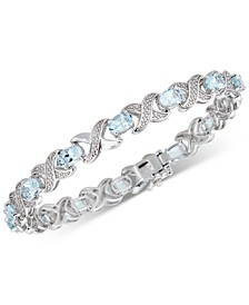 Aquamarine (4 ct. t.w.) & Diamond (1/20 ct. t.w.) Link Bracelet in Sterling Silver